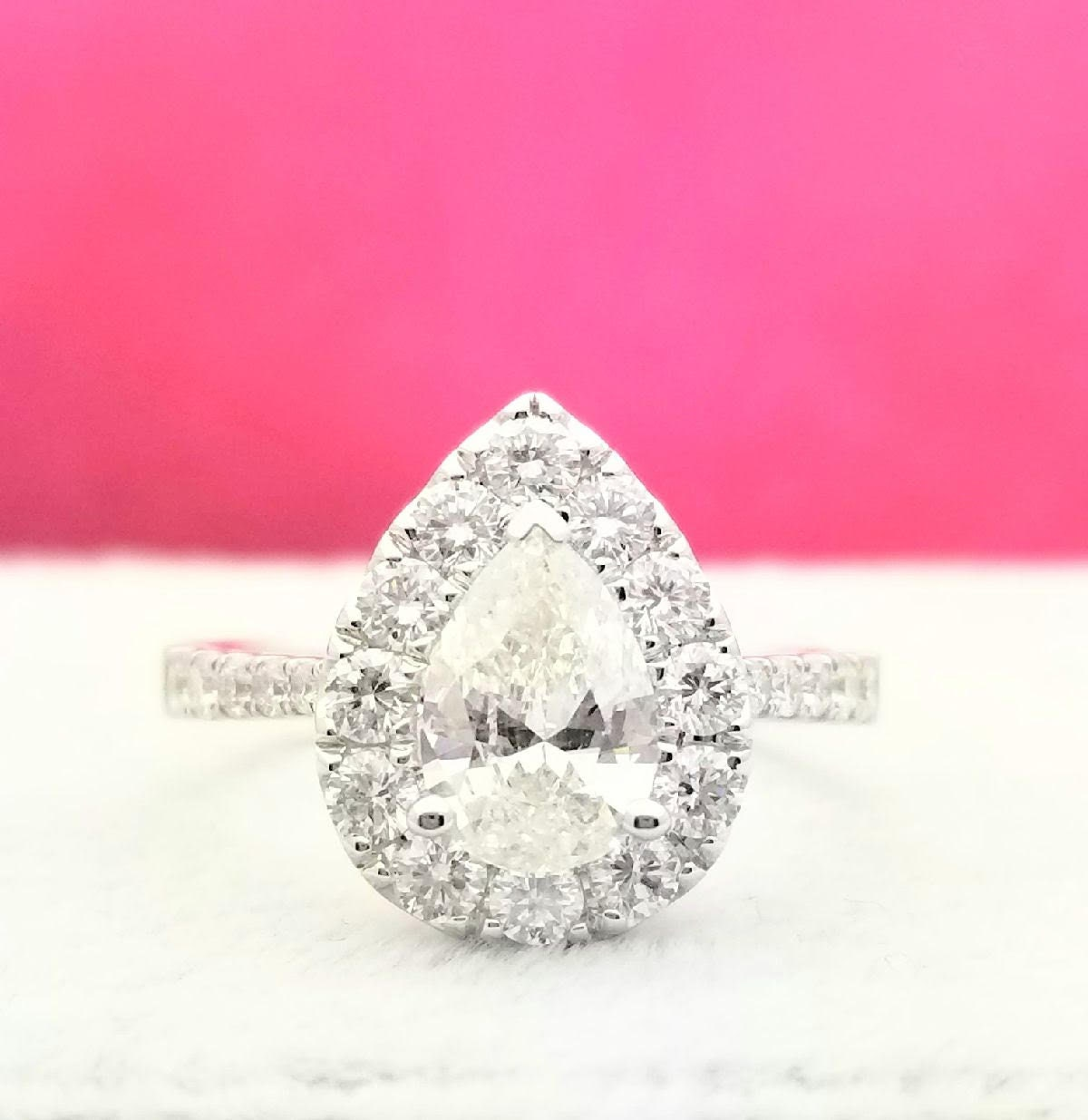 Diamond Engagement Ring Pear with Halo Made to Order 1.75