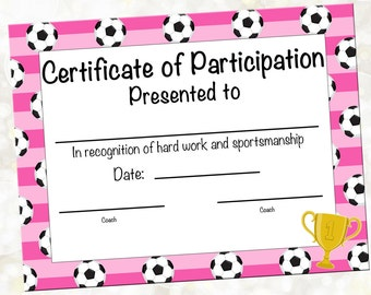 soccer certificate of achievement  INSTANT DOWNLOAD Soccer Certificate of Participation