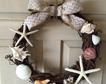 Beach Wreath, Seashell Wreath, starfish Wteath, Door Wreath, Home Decor