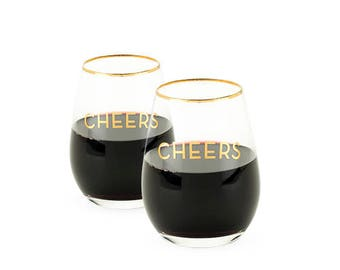 Gold Rimmed CHEERS Stemless Wine Glasses