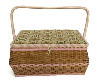 Mid Century Woven Sewing Box.