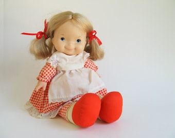 Vintage Mary Doll by Fisher Price 200 1970s Toy Red Gingham Skirt, White Lace Apron, Lapsitter, Blonde