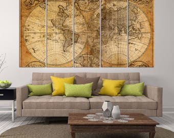 Extra Large Vintage World Map Wall Art Canvas, Antique World Map In Two Hemispheres, Old Map Canvas Print, Interior Decor, Map Art