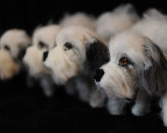 FOUR personalised dog sculptures. Needle felted dog ornaments, Bespoke dog portraits - Made In Scotland