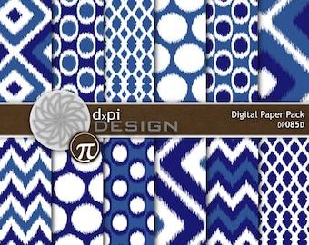Dark Blue Ikat Digital Paper and Printable Backgrounds - Digital Ikat Scrapbook Paper and 12x12 Digital Graphics - Instant Download (DP085D)