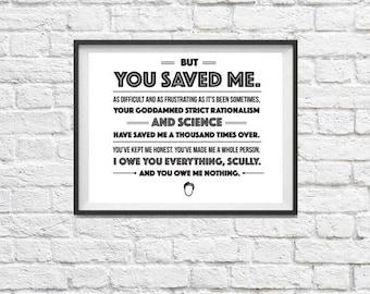 X-FILES quote print Mulder