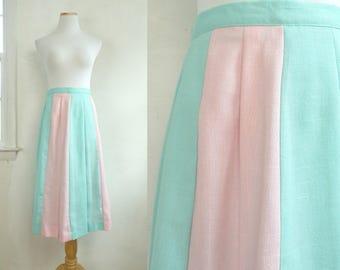 "60s pastel striped skirt pastel blue & pink midi skirt banded stripes skirt woven poly/rayon skirt knife pleat a-line skirt large 31"" waist"