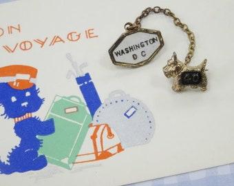 Vintage 1940 Art Deco Baby Doll Miniature Sweetheart Scottie Scottish Terrier Dog Pin Bon Voyage Gift Card Lot