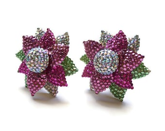 Massive 1980s Rhinestone and Enamel Flower Earrings