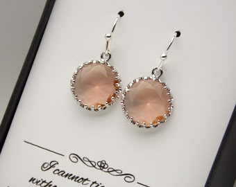 Silver Peach Earrings, Bridesmaid Earrings, Blush, Champagne Earrings, Wedding Jewelry, Dangle, Glass, Bridesmaid Jewelry, Bridesmaid Gifts