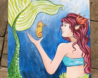 """Little Mermaid with Seahorse (14x18"""") Acrylic Painting"""