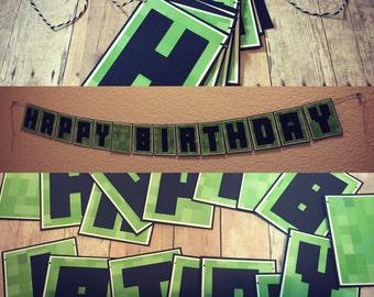 Handmade Minecraft Themed Happy Birthday Banner