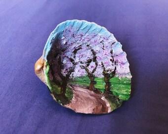 Cherry Tree (hand painted sea shell)