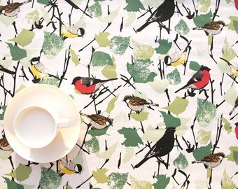 Tablecloth white green leaves red yellow black Birds Modern Scandinavian Design ,also napkins , runners , curtains available, great GIFT