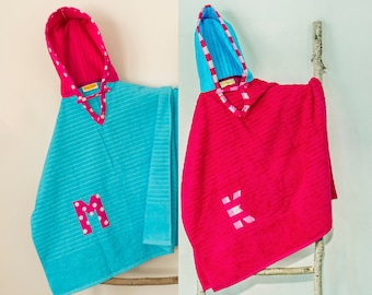 Hooded Towel Poncho, Personalized, in Turquoise and Bright Pink. Boy or Girl print (your choice). Bath Towel. Beach towel.