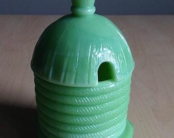 Jadeite Bee Hive Skep Honey Pot Jar Martha Stewart