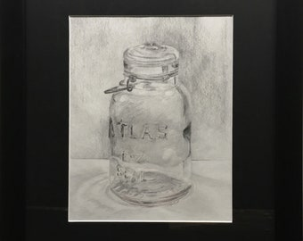 Canning Jar Original Pencil Drawing