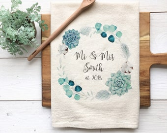 CUSTOMIZABLE Tea Towel Personalized Wedding Gift Housewarming Gift Custom Towel Custom Bridal Shower Gift Succulent Towel Gay Marriage Gift