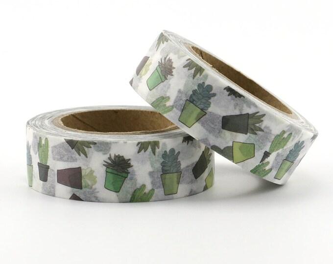 Cactus Washi Tape - Succulent washi Tape -  Nature Washi Tape - Paper Tape - Planner Washi Tape - Washi - Decorative tape - Green cactus