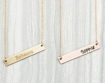 Personalized Inital Bar Necklace, Engraved Necklace, Contemporary Bridesmaid Jewelry, Initial Rectangle Necklace, Valentines Day