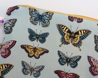 Large makeup bag, butterfly makeup bag, blue zipper pouch, blue toiletries bag, Mothers Day gift, gift for her, blue gift