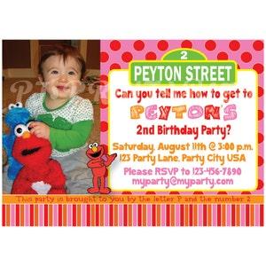 Girly Pink Elmo & Sesame Street Birthday Invitation - Custom Digital File