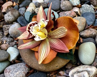 Tropical Tiki Brown Orchids Silk Flower Hair Clip