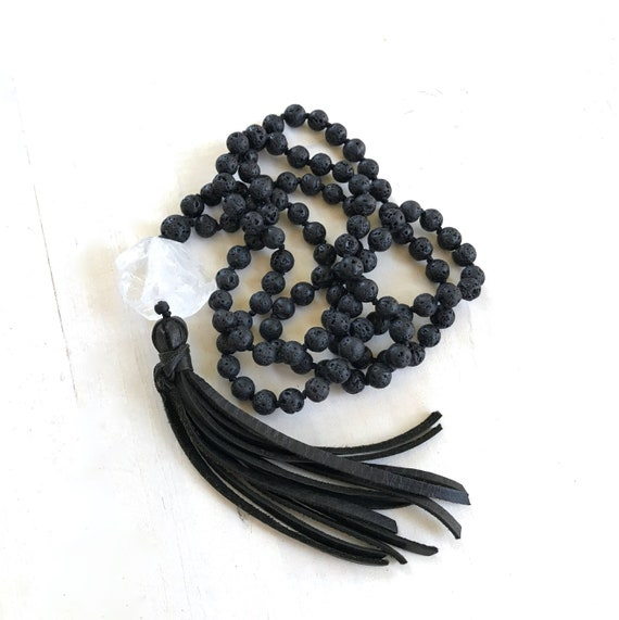 MALA OF REBIRTH - Black Lava Mala Beads - Grounding Mala Necklace - Root Chakra Mala - Leather Tassel Mala - Unisex Mala - Black Mala