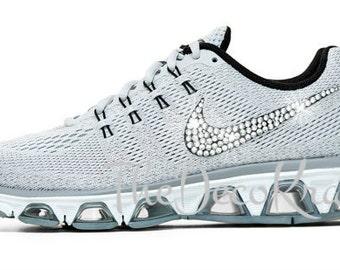 Custom Bling Womens Nike Air Max Tailwind 8 Pure Platinum, Wolf Grey  Swarovski Crystal Bling