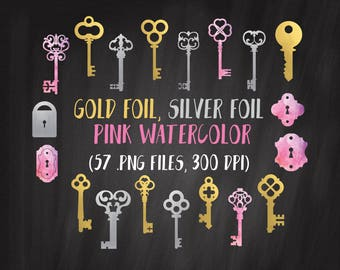 Gold Keys Clipart, Keys and Locks Clipart, Antique Key Clipart Set, Gold and Silver, Vintage Key Clipart, Skeleton Key, Free Commercial Use