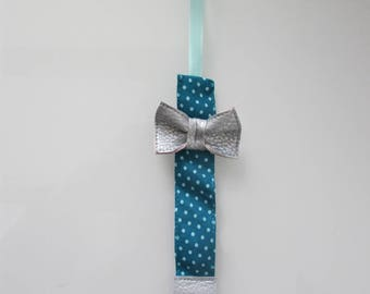 Pacifier clip bow for girl turquoise and aqua
