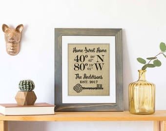 Rustic Gifts Our First Home New Home Housewarming Gift House Warming Gift Latitude Longitude Sign Real Estate Gift Address Sign Coordinates