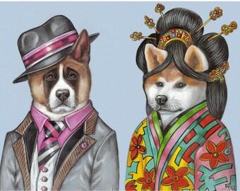 Akita Romance - 2 Art Prints - the Actor and the Geisha - American Akita, Akita Inu - Dog Wall Art - Funny Pet Portraits by Maria Pishvanova