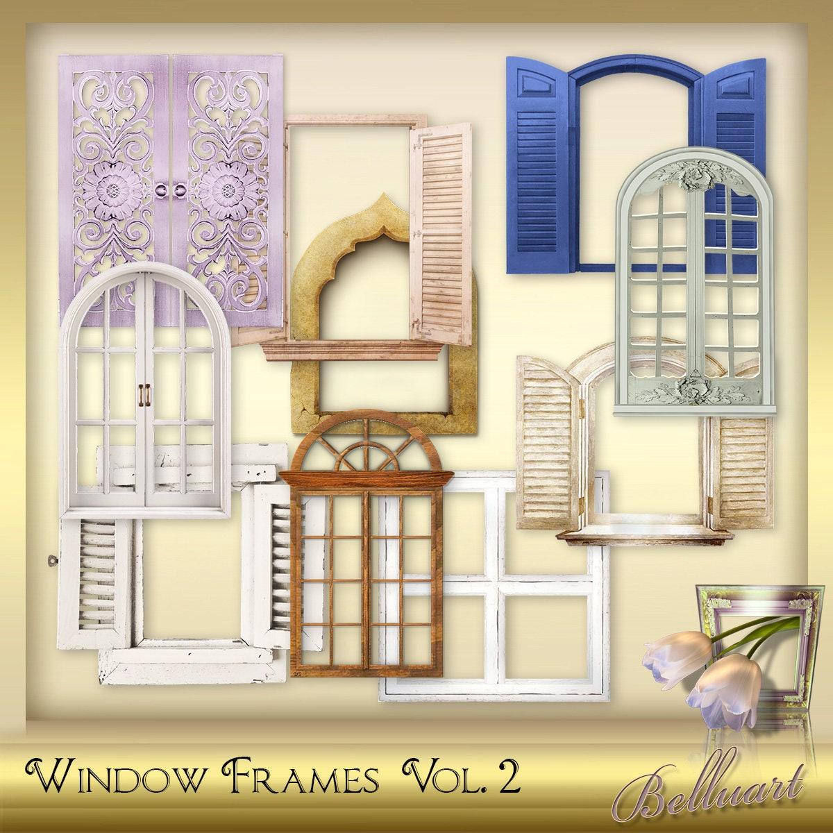 10 Digital Window Frames Vol. 2 - Window Photo Frame - Photoshop ...