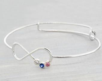 Gift For Mom, Infinity Bangle Bracelet, Infinity Birthstone Bracelet, Mothers Bracelet, Adjustable Bangle, Mothers Jewelry, Mothers Day Gift