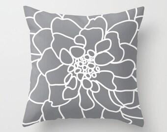 Flower Pillow with insert - Grey Flower Pillow - Flower Pillow cover wit insert - Accent Flower Pillow - Modern Flower Pillow