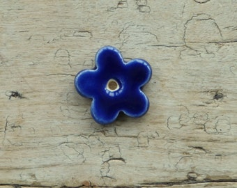 Handmade ceramic blossom  flower connector bead
