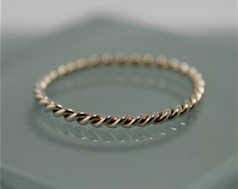 Twist Ring  14k SOLID White Gold 1.5mm Twisted Rope Infinity Band Stacking Ring Shiny Finish Eco Friendly Recycled Gold