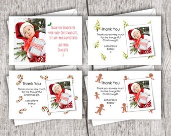 Printed Christmas Photo THANK YOU Cards inc. envelopes - Flat Style - Personalised