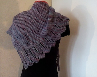 Elegant hand knit shawl lace pattern edging in purple turquois blue shades 100% merino Malabrigo yarn, gift for her *Ready to Ship*