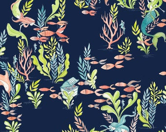 At the Bottom of the Sea mermaid print fabric by blend fabrics from Mermaid days collection, Mermaid fabric, nautical fabric, beach fabric