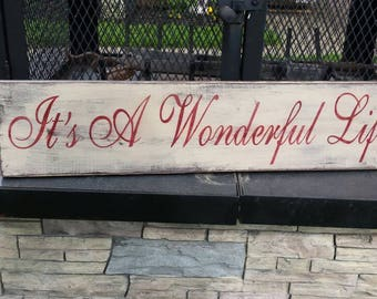 It's A Wonderful Life Wood Sign Christmas Sign Distressed Wood Wall Hanging Rustic Decor Holiday Decor Sign Gift Bedford Falls Vintage Xmas
