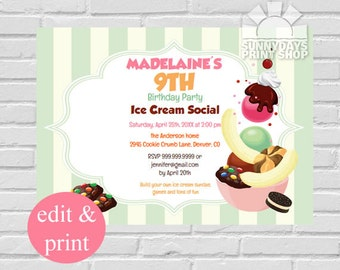 Ice Cream Birthday Party Invitation, Ice Cream Social Party Invite, Make Your Own Sundae,INSTANT DOWNLOAD Edit with Acrobat Reader