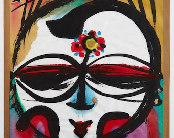 Japanese Painting. Abstract Portrait of Buddhist Deity. Nihonga. Polychrome ink painting. Colorful. Buddha. Happy.