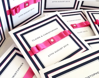 Wedding Invites - Navy and Fuchsia Pink Wedding Invitations - Luxury Sparkly Wedding Invitations - Satin Ribbon Bow and Sparkle Invite