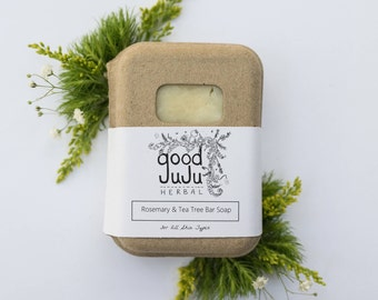 Rosemary and Tea Tree All Natural Soap, Vegan Soap, Sensitive Skin soap, Handmade Body Soap and Shampoo Bar, Eco-Friendly Gifts