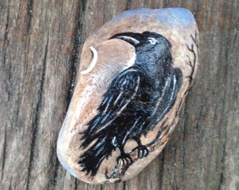 Painted ROCK Mystical CROW PAPERWEIGHT