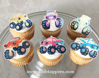 Monster, Truck Topper | Edible Truck Decorations | Cupcake Toppers | Birthday Party | Smash Cake | Boys Birthday Party | Big Wheel Truck