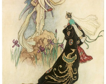 Hand-cut wooden jigsaw puzzle. FAIRY QUEEN MAJESTY. Warwick Goble. Fairytale gift. Wood, collectible. Bella Puzzles.