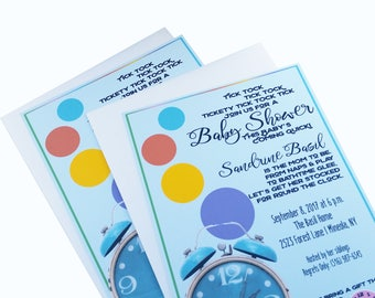 Baby Shower Invites Neutral - Around the Clock Baby Shower Invitation - Baby Shower Invitations - Clock Shower Invite - Unisex Baby Shower